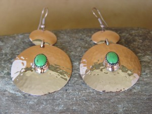 Navajo Indian Hammered Copper Gaspeite Dangle Earrings by Iva Sifuentes
