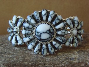 Native American Indian Jewelry Sterling Silver Howlite Cluster Bracelet BB0198