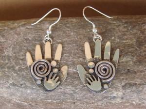 Native American Sterling Silver Hand Petroglyph Dangle Earrings by Alex Sanchez!