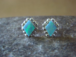 Zuni Indian Jewelry Sterling Silver Rectangular Light Blue Opal Post Earrings!