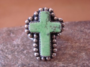 Native American Nickle Silver Gaspeite Cross Ring Size 7, by Phoebe Tolta