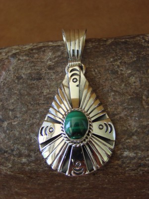 Native American Jewelry Sterling Silver Malachite Pendant by Attakai