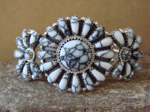 Native American Indian Jewelry Sterling Silver Howlite Cluster Bracelet BB0199