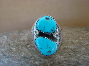 Native American Jewelry Sterling Silver 2 Stone Turquoise  Ring!  Size 8 1/2
