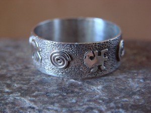 Native American Sterling Silver Stamped Petroglyph Ring by Skeets Size 11
