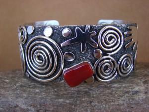 "Navajo Indian Sterling Silver Coral 1"" Petroglyph Bracelet by Alex Sanchez!"