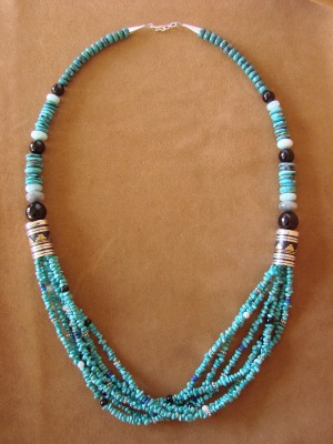 Large Navajo Indian Jewelry Hand Strung Turquoise Necklace T&R Singer