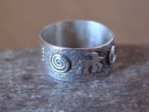 Native American Sterling Silver Stamped Petroglyph Ring by Skeets Size 6 1/2