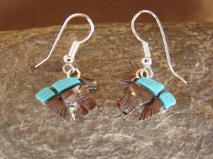 Zuni Indian Jewelry Sterling Silver Inlay Horse Earrings by Stephen Lonjose