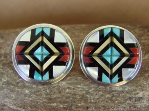 Zuni Indian Sterling Silver Turquoise Coral Channel Inlay Post Earrings by Natachu