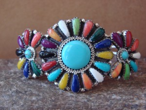 Navajo Indian Jewelry Sterling Silver Turquoise and Gemstone Cluster Bracelet! BB0201