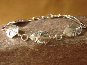 Navajo Indian Jewelry Sterling Silver Feather Bracelet by Chris Charley!