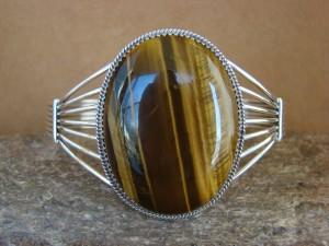 Native American Indian Jewelry Sterling Silver Tiger Eye Bracelet