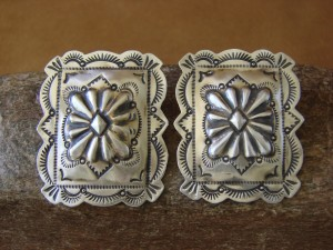 Navajo Indian Jewelry Sterling Silver Stamped Earrings! Genevieve Blackgoat