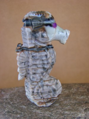 Zuni Indian Hand Carved Picasso Marble Seahorse Fetish