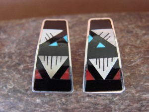 Zuni Indian Sterling Silver Turquoise Coral Channel Inlay Post Earrings by Othole