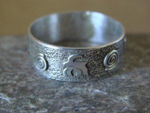 Native American Sterling Silver Stamped Petroglyph Ring by Skeets Size 13