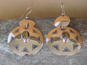 Navajo Indian Jewelry Copper Tiger Eye Dangle Earrings by Iva Sifuentes