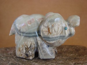 Zuni Indian Hand Carved Picasso Marble Elephant Fetish