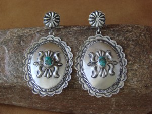 Navajo Indian Sterling Silver Hand Stamped Turquoise Earrings! by Eugene Charley