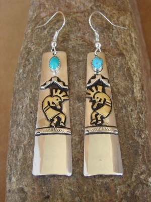 Navajo Indian Sterling Silver and Gold Turquoise Kokopelli Earrings by Singer!