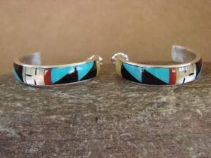 Zuni Indian Jewelry Sterling Silver Inlay Post Hoop Earrings by Delberta Boone