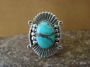 Native American Jewelry Sterling Silver Turquoise Ring! Size 7 Running Bear