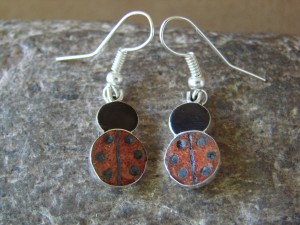 Zuni Indian Jewelry Sterling Silver Inlay Lady Bug Earrings! Shenel Comosona