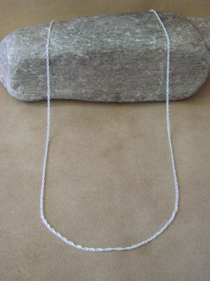 """Southwestern Jewelry Sterling Silver Figaro Chain Necklace 20"""" Long x 1 MM"""