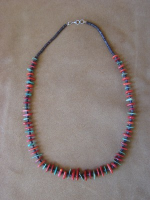 Native American Santo Domingo Coral Turquoise Heishi Necklace - Jeanette Calabaza