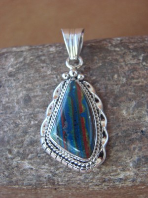 Navajo Indian Jewelry Sterling Silver Rainbow Calsilica Pendant! RB