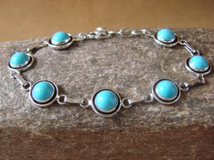 Native Indian Jewelry Turquoise Sterling Silver Link Bracelet! Martin Perry