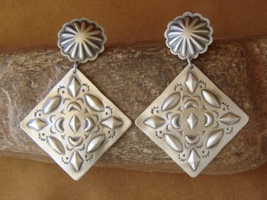 Native American Sterling Silver Hand Stamped Post Earrings by Harold Joe
