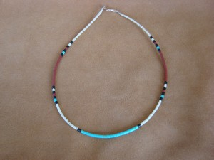 Santo Domingo Indian Hand Strung Turquoise Necklace by Delbert Crespin