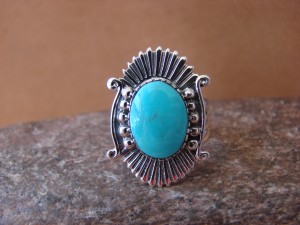 Native American Jewelry Sterling Silver Turquoise Ring! Size 8 1/2 Running Bear