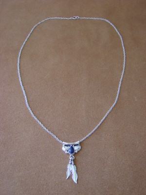 Navajo Indian Sterling Silver Lapis Bear Paw Necklace by Sharon McCarthy