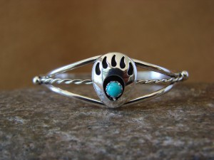 Navajo Indian Sterling Silver Turquoise Bear Paw Baby Bracelet! Leta Parker