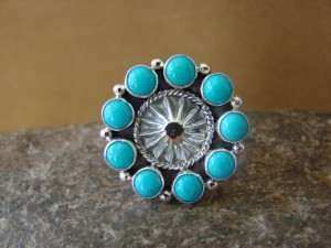 Native American Jewelry Sterling Silver Turquoise Ring! Size 8 Daniel Benally