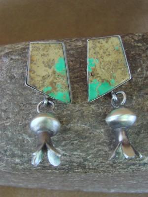 Navajo Indian Sterling Silver Boulder Turquoise Squash Blossom Post Earrings! Warner