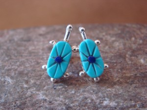 Zuni Indian Jewelry Sterling Silver Turtle Post Earrings by Walter Lalio