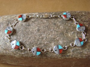 Zuni Indian Jewelry Sterling Silver Sunface Link Bracelet! Tyrone Martinez