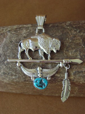 Native American Jewelry Sterling Silver Buffalo Turquoise Pendant by Attakai