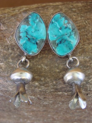 Navajo Indian Sterling Silver Turquoise Squash Blossom Post Earrings! Warner