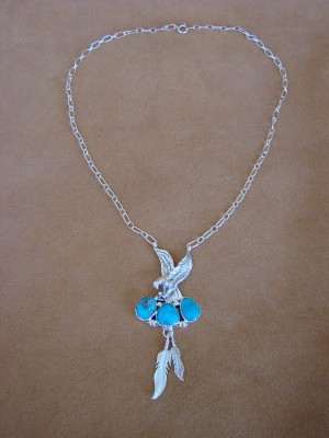 Native American Jewelry Turquoise Sterling Silver Eagle Link Necklace by Annie Spencer