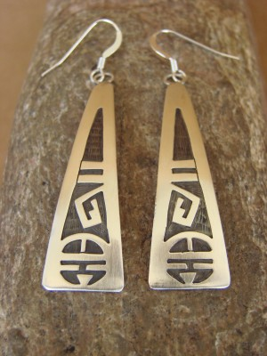 Native American Sterling Silver Hand Stamped Sun Face Earrings by Gene -204