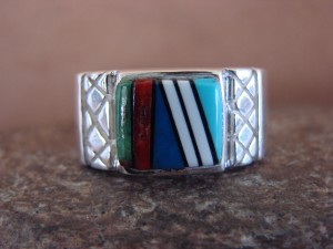 Zuni Indian Sterling Silver Turquoise Inlay Ring Size 10 - Leslie Lamy