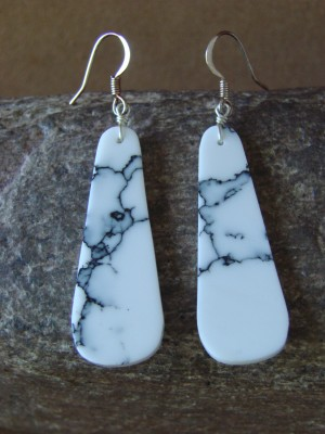 Navajo Indian Sterling Silver Howlite Slab Earrings!