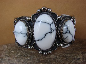 Native American Jewelry Nickel Silver Howlite Bracelet by Jackie Cleveland!