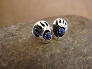 Navajo Indian Jewelry Sterling Silver Lapis Bear Paw Post Earrings!