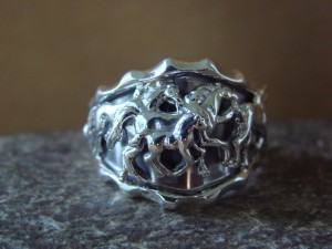 Navajo Indian Sterling Silver Handmade Horse Ring, Size 13!